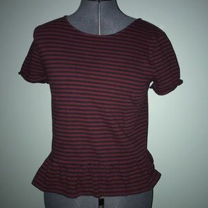 Stripped Cotton Shirt with Ruffled Edge